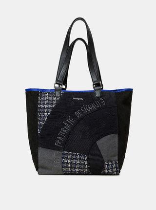 Čierny vzorovaný shopper s detailmi v semišovej úprave Desigual Liberté