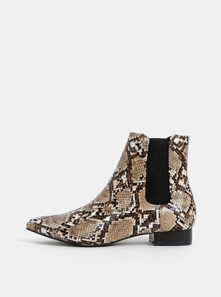 Hnědé chelsea boty s hadím vzorem Dorothy Perkins