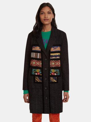 Čierny vzorovaný ľahký kabát Desigual Joy