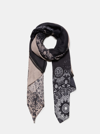 Šedo-modrý vzorovaný šátek Desigual Patch