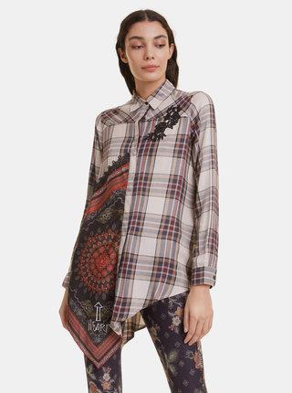 Béžová asymetrická kostkovaná košile Desigual