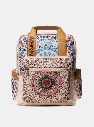 Béžový vzorovaný batoh s výšivkou Desigual Turmalina