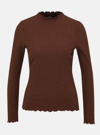 Hnědé žebrované tričko ONLY Emma
