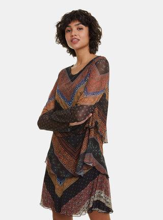 Hnědé vzorované šaty Desigual Ocrida