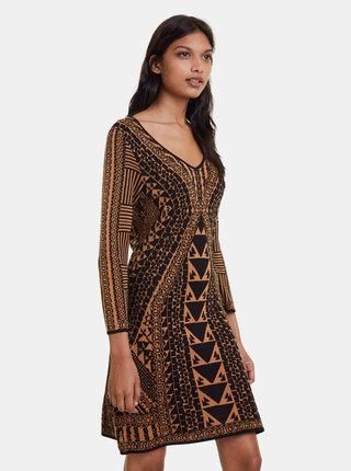 Hnědé hedvábné vzorované šaty Desigual