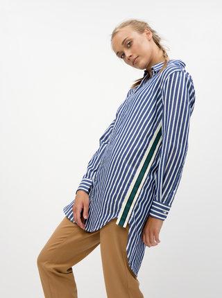 Bielo-modrá pruhovaná dlhá košeľa ONLY Mandy