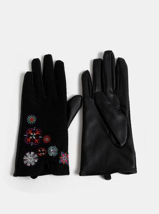 Černé rukavice s výšivkou Desigual