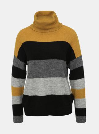 Horčicovo-šedý pruhovaný sveter s rolákom Jacqueline de Yong Nora