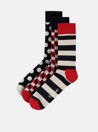 Sada troch párov tmavomodrých vzorovaných ponožiek Happy Socks Stripe