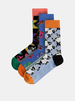 Sada tří párů modrých vzorovaných ponožek Happy Socks Andy Warhol