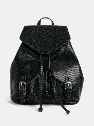 Čierno-zelený batoh s hadím vzorom Pieces Irina