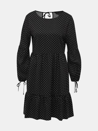 Černé puntíkované šaty s volány Dorothy Perkins