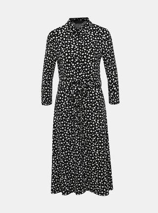 Černé košilové vzorované midišaty Dorothy Perkins