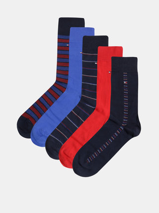 Sada pěti pánských ponožek v modré barvě v dárkové krabičce Tommy Hilfiger