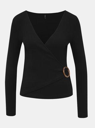 Černé žebrované tričko ONLY Hannah