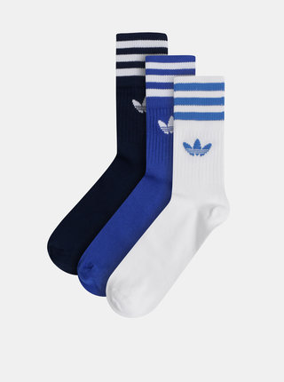 Sada troch párov pánskych modrých ponožiek adidas Originals Crew