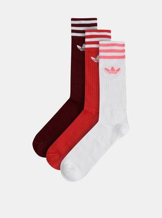 Sada troch párov pánskych červených ponožiek adidas Originals Crew