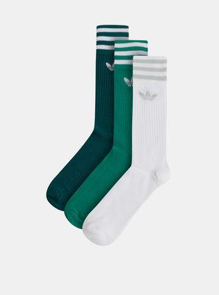 Sada tří párů pánských ponožek v zelené a bílé barvě adidas Originals