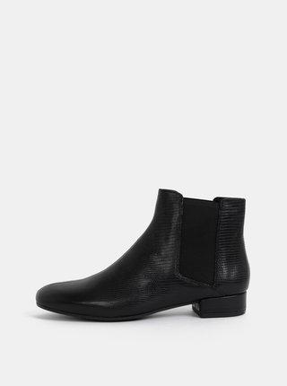 Čierne dámske kožené chelsea topánky s hadím vzorom Vagabond Suzan
