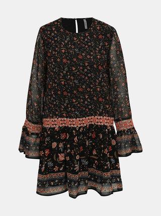 Čierne kvetované šaty Pepe Jeans Debra