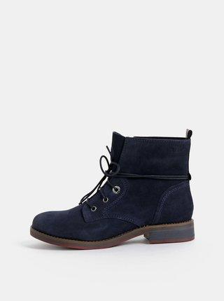 Tmavomodré dámske semišové kotníkové topánky s.Oliver