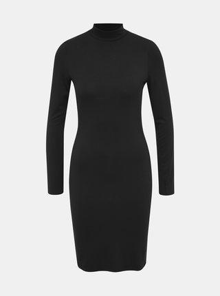 Čierne púzdrové basic šaty so stojačikom Dorothy Perkins