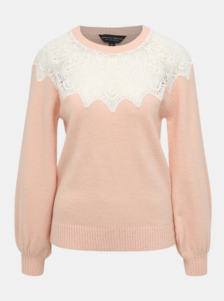 Růžový svetr s krajkou Dorothy Perkins