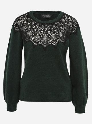 Tmavě zelený svetr s krajkou Dorothy Perkins