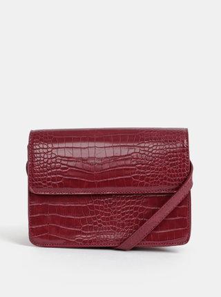 Vínová crossbody kabelka s krokodýlím vzorom Pieces Julie