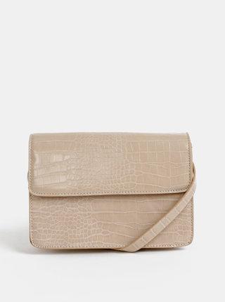 Béžová crossbody kabelka s krokodýlím vzorom Pieces Julie