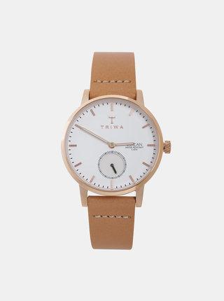 Dámske hodinky so svetlohnedým koženým remienkom TRIWA Svalan