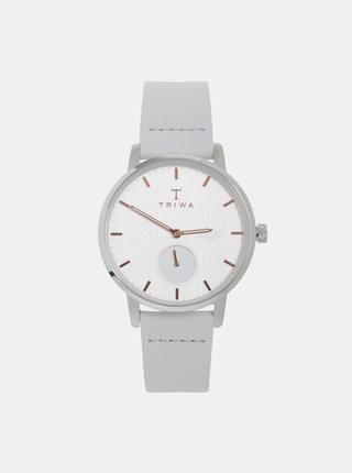Dámske hodinky so svetlošedým koženým remienkom TRIWA Blush Svalan