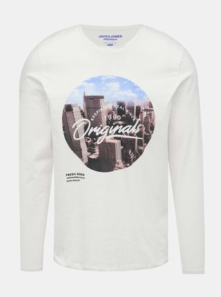 Biele tričko s potlačou Jack & Jones Town