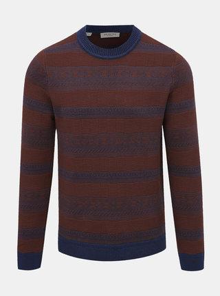 Hnedý pruhovaný sveter Selected Homme Simple