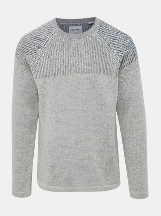 Světle šedý žíhaný svetr ONLY & SONS Peer