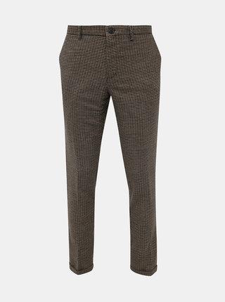 Hnědé vzorované slim fit kalhoty s příměsí vlny Selected Homme Fleet