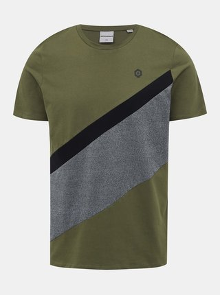 Khaki tričko Jack & Jones Cross