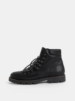 Čierne kožené kotníkové topánky Selected Homme Saac