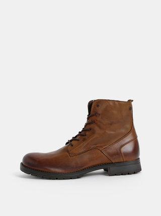 Hnedé pánske kožené topánky Jack & Jones Worca