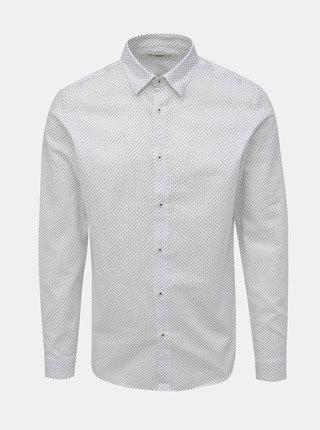 Biela vzorovaná slim fit košeľa Jack & Jones Sander
