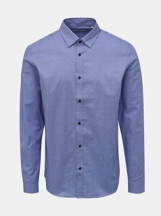 Modrá vzorovaná slim fit košeľa Jack & Jones Sander