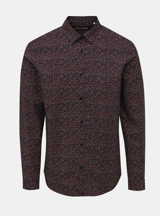 Vínová kvetovaná slim fit košeľa Jack & Jones Sander