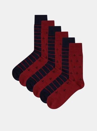 Sada šiestich párov pánskych ponožiek v modro-červenej farbe GANT