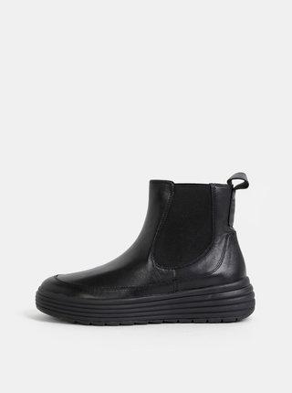 Čierne dámske kožené chelsea topánky na platforme Geox Phaolae