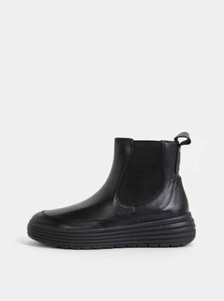 Černé dámské kožené chelsea boty na platformě Geox Phaolae