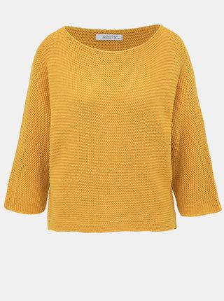 Hořčicový dámský basic svetr Haily´s Anne