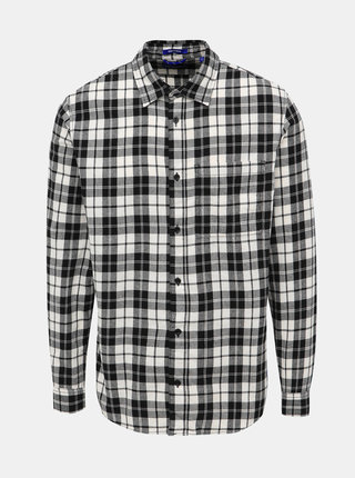 Čierno-biela kockovaná slim fit košeľa Jack & Jones Jake