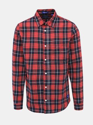 Červená kockovaná slim fit košeľa Jack & Jones Jake