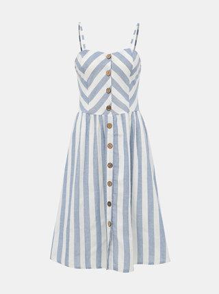 Bílo-modré pruhované šaty s příměsí lnu Haily´s Amy