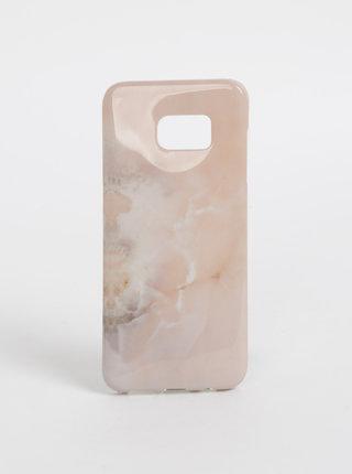 Růžový vzorovaný obal na Samsung S7 Edge Haily´s Marbel